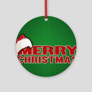 Merry Christmas Santa Hat Ornament (Round)