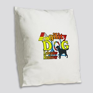 Labrador Retriever Agility Burlap Throw Pillow