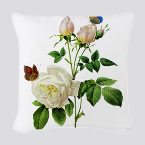 Redoute Roses016 Woven Throw Pillow