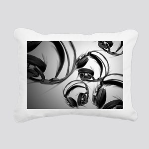 Headphones - Gray Rectangular Canvas Pillow