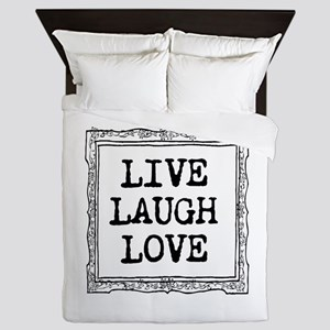 Vintage Live Laugh Love Queen Duvet