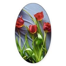 Red Tulips Bouquet Oval Sticker