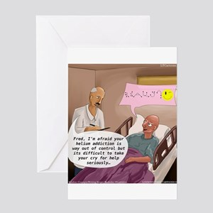 Hospital funny patient greeting cards cafepress helium addiction greeting cards m4hsunfo