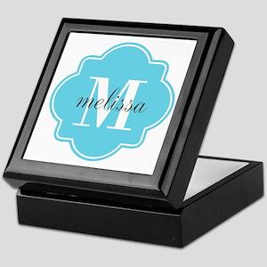 Turquoise Custom Personalized Monogra Keepsake Box
