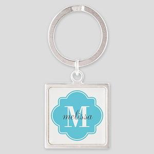 Turquoise Custom Personalized Mono Square Keychain