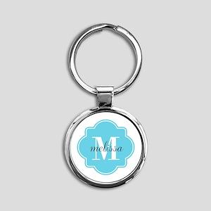 Turquoise Custom Personalized Monog Round Keychain