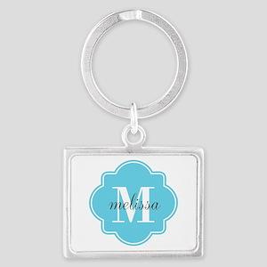 Turquoise Custom Personalized M Landscape Keychain