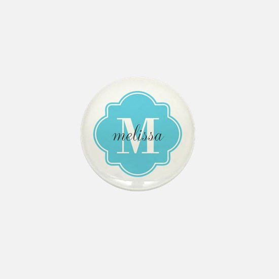 Turquoise Custom Personalized Monogram Mini Button