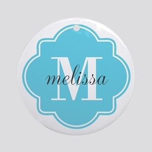 Turquoise Custom Personalized Mon Ornament (Round)