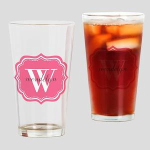 Pink Custom Personalized Monogram Drinking Glass