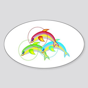 Colorful Flying Dolphins Oval Sticker