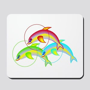 Colorful Flying Dolphins Mousepad