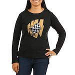 Checker Flag Women's Long Sleeve Dark T-Shirt