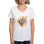 Checker Flag Women's V-Neck T-Shirt