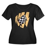 Checker Flag Women's Plus Size Scoop Neck Dark T-S