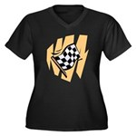 Checker Flag Women's Plus Size V-Neck Dark T-Shirt