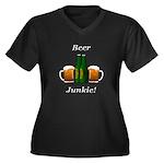 Beer Junkie Women's Plus Size V-Neck Dark T-Shirt