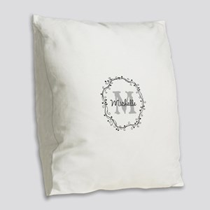 Personalized vintage monogram Burlap Throw Pillow