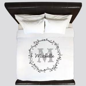 Personalized Elegant Monogram King Duvet