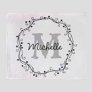 Personalized vintage monogram Throw Blanket