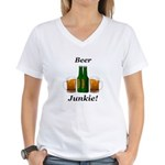 Beer Junkie Women's V-Neck T-Shirt