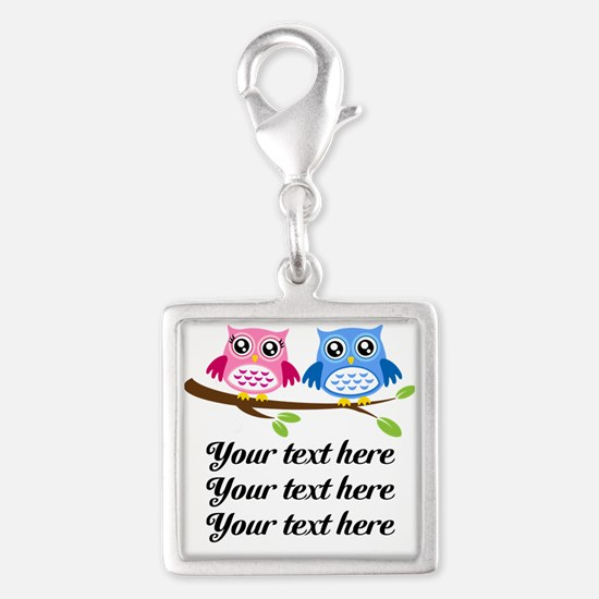 personalized add text Owls Charms