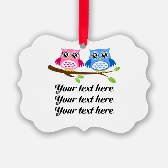 personalized add text Owls Ornament