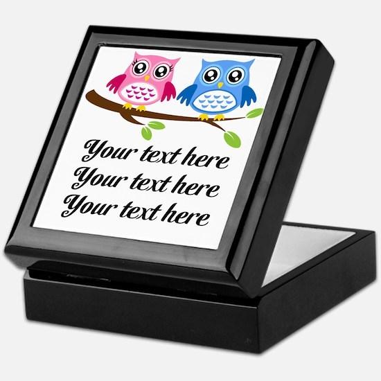 personalized add text Owls Keepsake Box