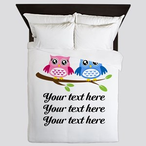 personalized add text Owls Queen Duvet