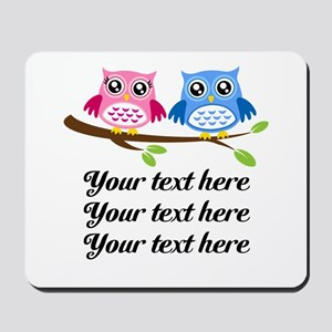 personalized add text Owls Mousepad