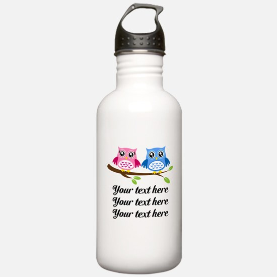 personalized add text Owls Water Bottle