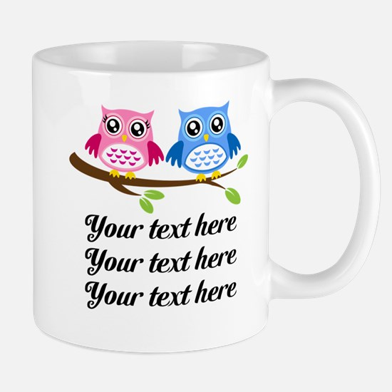 personalized add text Owls Mugs