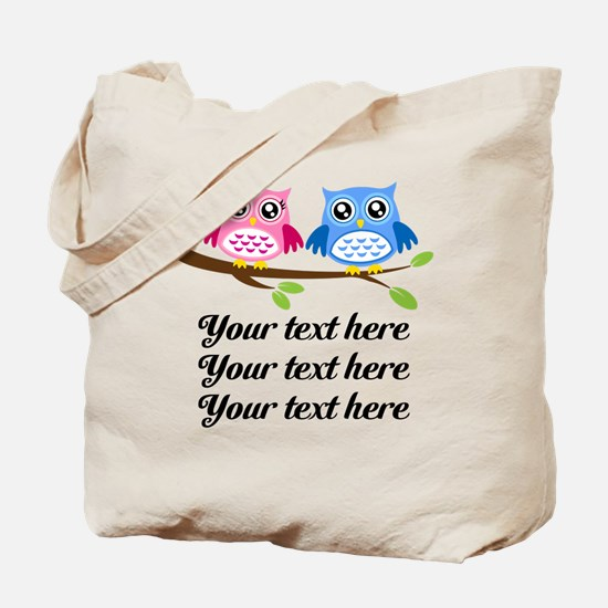 personalized add text Owls Tote Bag