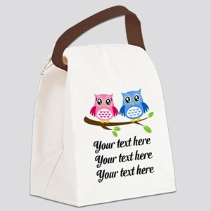 personalized add text Owls Canvas Lunch Bag