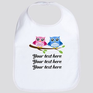 personalized add text Owls Bib