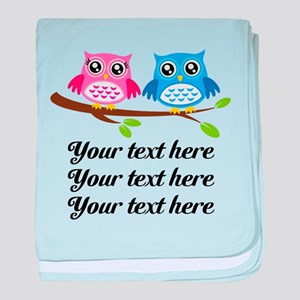 personalized add text Owls baby blanket