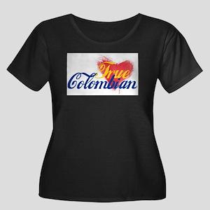 True Col Women's Plus Size Scoop Neck Dark T-Shirt