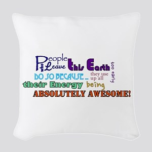 Awesome Words Woven Throw Pillow