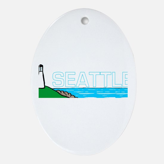 Seattle, Washington Oval Ornament