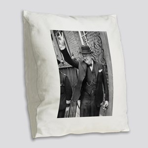 winston churchill Burlap Throw Pillow