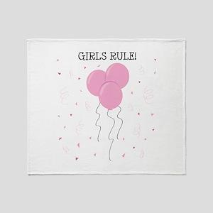 Girls Rule Throw Blanket