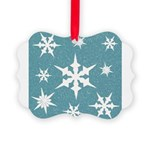 Blue and White Snow Flakes Ornament