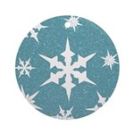 Blue and White Snow Flakes Ornament (Round)