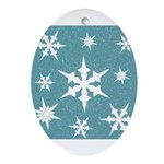 Blue and White Snow Flakes Ornament (Oval)