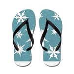 Blue and White Snow Flakes Flip Flops