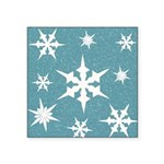 Blue and White Snow Flakes Sticker