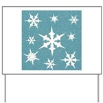 Blue and White Snow Flakes Yard Sign