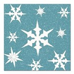 Blue and White Snow Flakes Square Car Magnet 3