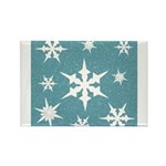 Blue and White Snow Flakes Magnets