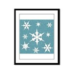 Blue and White Snow Flakes Framed Panel Print